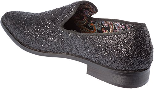 Mens Loafer-Fashion Slip-On Sparkling-Glitter Black Dress-Shoes Size 9 by Alberto Fellini (Image #4)