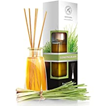 Lemongrass diffuser with Lemongrass Oil -100ml - Scented Reed Diffuser - 0% Alcohol - Diffuser Gift Set - best for Aromatherapy - Room Air fresheners - Lemongrass essential oil Diffuser by Aromatika