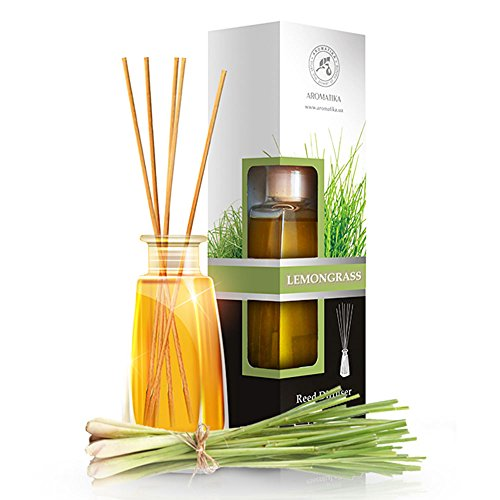 Lemongrass diffuser with Lemongrass Oil -100ml - Scented Reed Diffuser - 0% Alcohol - Diffuser Gift Set - best for Aromatherapy - Home - Room Air fresheners - Lemongrass essential oil Diffuser (Aroma Diffuser Scented)