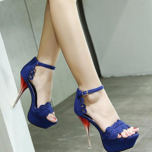 Sandals Ankle Strap Out Toe Sexy Peep Cut Heel Platform High Stiletto Easemax Womens Stitching Blue Buckle IYqafpn6xw