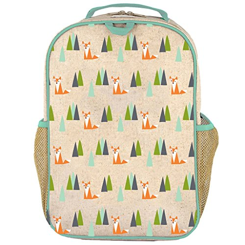 Soyoung Grade School Backpack   Raw Linen  Eco Friendly  Non Toxic  Retro Inspired Design   Olive Fox