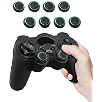 Fosmon (4 Pairs / 8 Count) Analog Stick Joystick Controller Performance Thumb Grips for Xbox One S | PS4 | PS3 | Xbox One | Xbox 360 | Wii U | Wii Nunchuk (Black/Green)