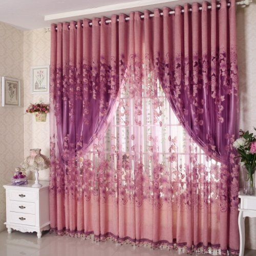LightInTheBox One Panel Country Floral Living Room Polyester Sheer Curtains Shade (84W96