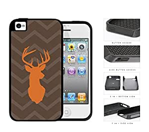 Orange Buck Brown Chevron 2-Piece Dual Layer High Impact Rubber Silicone Cell Phone Case Apple iPhone 4 4s
