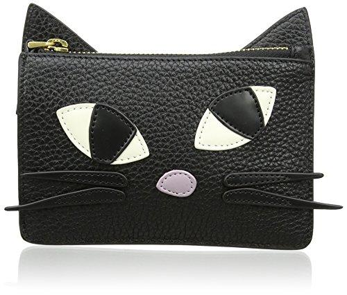 Lulu Guinness Kooky Cat - Portamonete Donna, Black, 0.3x10x156 cm (W x H L)