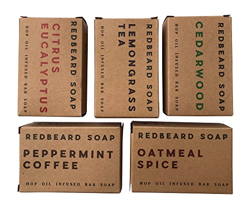 Redbeard Soap Men's Hop Oil Soap Sampler Pack (5 Bars) – Cedarwood, Citrus Eucalyptus, Lemongrass, Oatmeal Spice, Peppermint Coffee Bars – Hop Oil Organic Soap for Men (5 Bar Bundle (Lemongrass Scented Body Scrub)