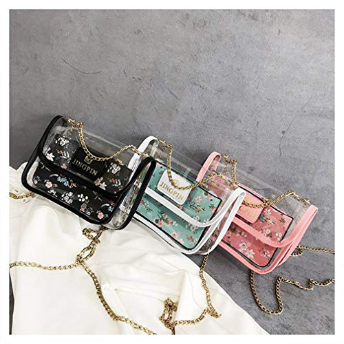 Chain White 2PCS Transparent Lady Crossbody Handbag Bag Black qC7xZ1