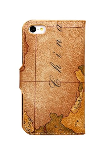 Apple Cellphone Case Protective Case Cover Pu Leather Bible Book Wallet Case for Iphone 4 / Iphone 4s and Iphone 5 (Retro map case for iphone 4/4S)