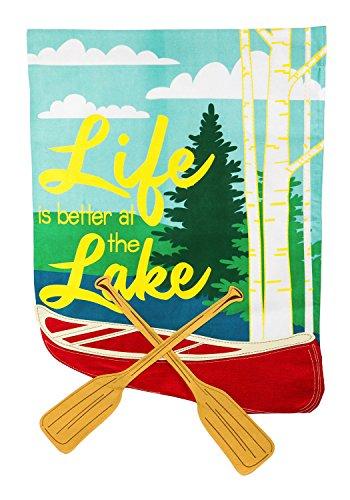 Evergreen Life at the Lake Burlap House Flag, 28 x 44 - Pembroke Lakes At