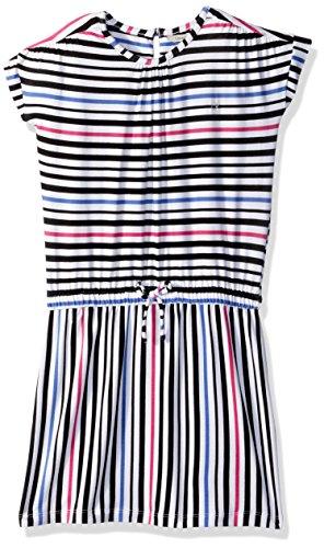 Calvin Klein Big Girls' Short Sleeve Stripe Dress, White, Large (12/14)