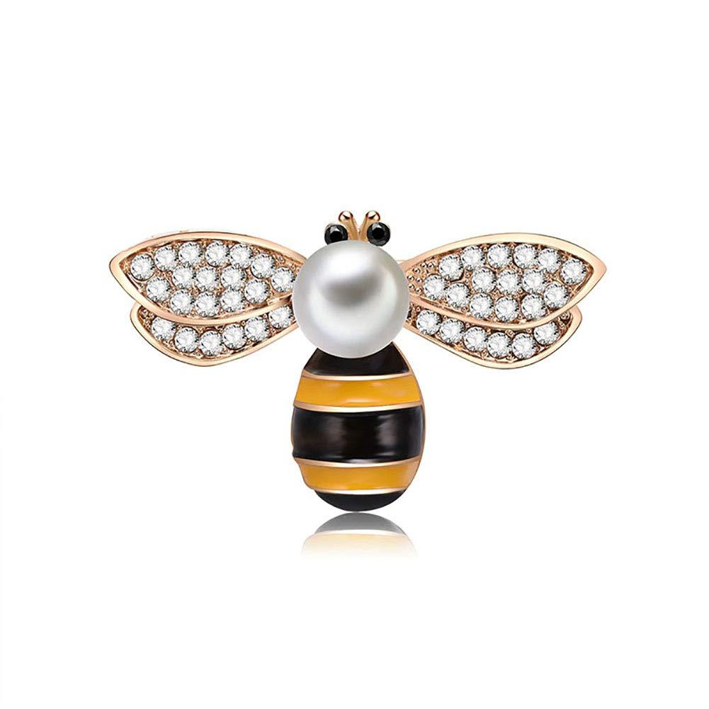 DaoRier Brosche Nadel Anstecker Biene Form Legierung Kristall Schmuck Brooch Geschenk für Kleidung Dekoration