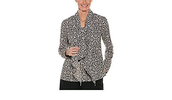 91609c4f31cec1 Coolibar UPF 50+ Women s Chillon Blouse - Sun Protective (X-Small- Brown  Isle Medallion) at Amazon Women s Clothing store