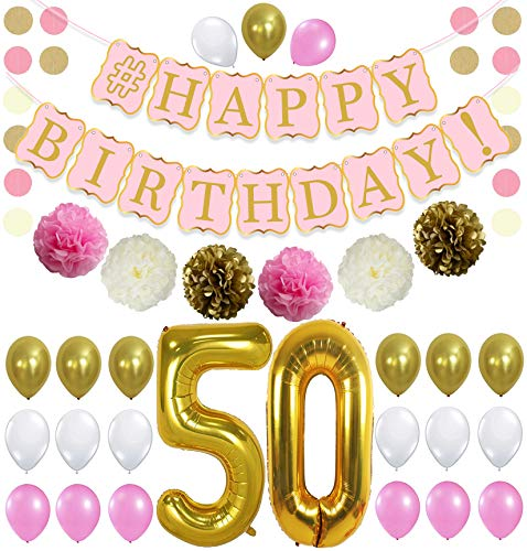 KatchOn 50th Birthday Decorations Kit - Pink Gold and White Balloons, Cream Tassel, Paper PomPoms Circle Garland,Happy Birthday Banner Pink and Gold, Number 50 for 50th Birthday Party Supplies, Large
