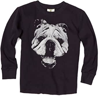 Wes and Willy Big Boys' Bulldog Thermal Tee, Navy, Small