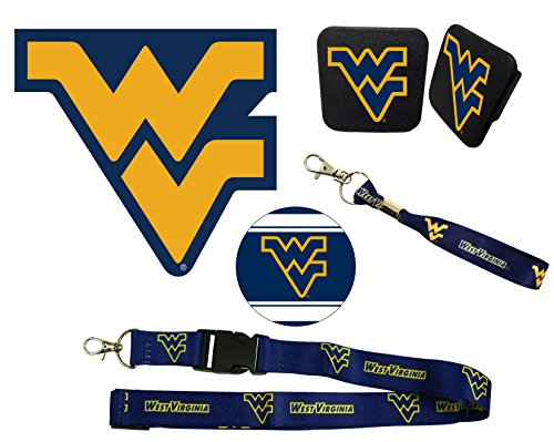 "West Virginia Mountaineers Mascot Magnet, 4"" Round Decal, Cloth Key Chain, Lanyard, and Rubber Trailer Hitch Cover Auto Pack"