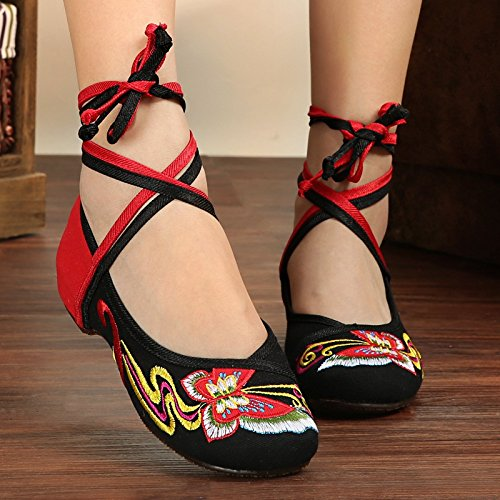 Embroidered increase Canvas Black Women Shoes Dance Shoes Internal dzTtwU1q