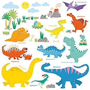 Decowall Ds 8008 Dinosaurio Colorido Vinilo Pegatinas Decorativas