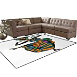 African Woman,Carpet,Black Girl in a Traditional Dress Performing an Ethnic Dance Native Zulu,Home Decor Area Rug,Multicolor,5'x6'