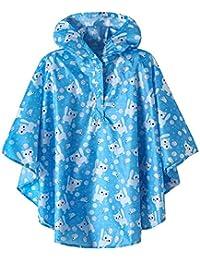 Kids Lightweight Waterproof Rain Ponchos(Blue-Cat,X-Large)