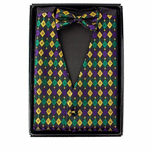 Vittorio Farina Mardi Gras Metallic Harlequin Print Vest & Bow Tie ONLY -