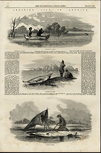 Frontier Hunting Deer Otter Making a Canoe nice 1858 great antique Travel print