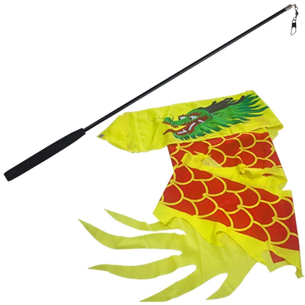 SPP PANDA Fitness Equipments Children Toy Streamer Dancing Streamers Dragon Dance Tai Chi 60cm Rod 5M Ribbon FRP Satin