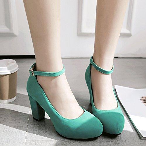YE Damen Ankle Strap Pumps Geschlossene Blockabsatz High Heels Plateau mit Riemchen und 8cm Absatz Elegant Schuhe Grün