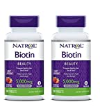 Cheap Natrol General Health Biotin 5,000 mcg Fast Dissolve, Strawberry  Flavored 90 tablets (a),pack of 2