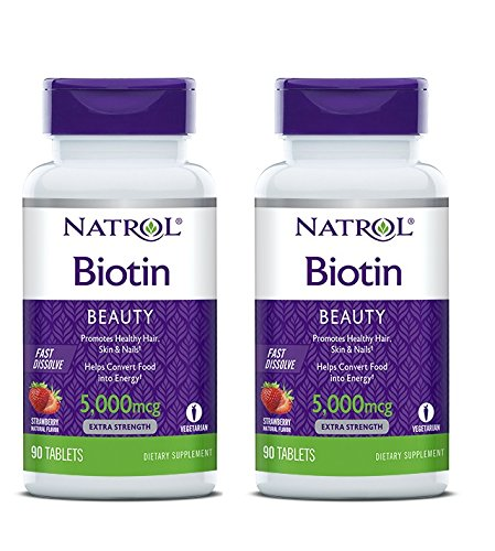 Natrol General Health Biotin 5,000 mcg Fast Dissolve, Strawberry  Flavored 90 tablets (a),pack of 2 - Mcg Fast Dissolve Tablets