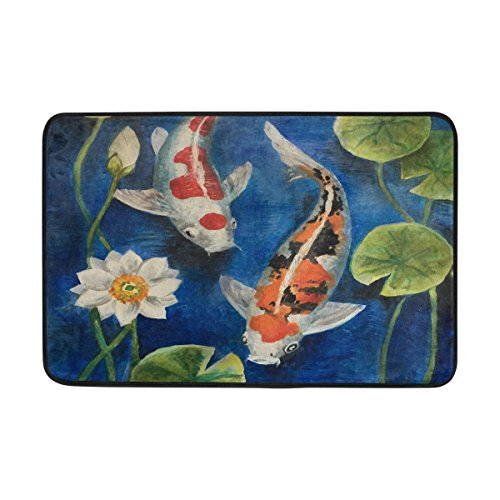 (Colorful Koi Fish in A Pond Entrance Doormat Machine Washable Rug Non Slip Mats Bathroom Kitchen Decor Area Rug 23.6x15.7 inch)