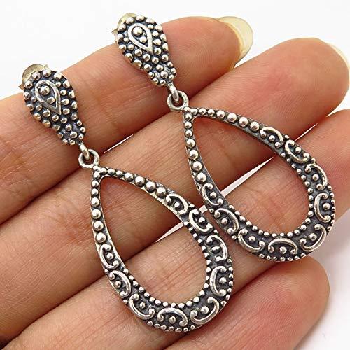 925 Sterling Silver Granulated Openwork Teardrop Dangling Earrings