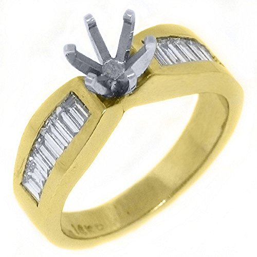 - 14k Yellow Gold Baguette Cut Diamond Engagement Ring Semi Mount .70 Carats