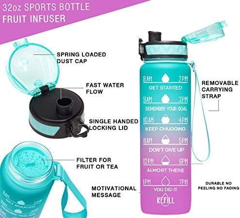 32Oz//22Oz Motivational Fitness Sports Water Bottle W Time M B2.PURPLE(32Oz) 32Oz