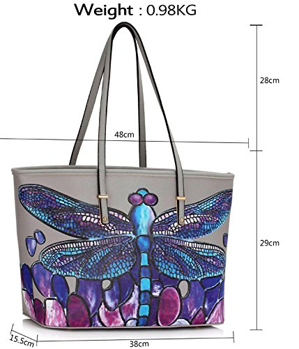 Womens Ladies Design Oversized Large Grey Female Butterfly Print A4 fits Handbags Bags Bags Animal 2 Also Extra Shoulder Folder r1Cqr