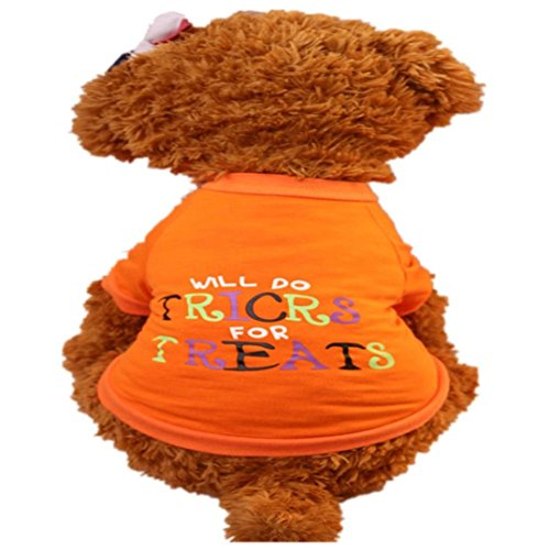 Puppy Clothes,2017 New Hot Sale Halloween T Shirt Pet Puppy Small Dog Cat Pet Clothes Dress Apparel Clothes by Neartime (M, Orange) (Halloween 2017 Toilet)