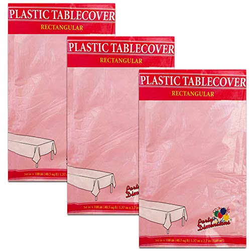 3-PACK DISPOSABLE PLASTIC TABLE COVERS/TABLECLOTHS (PINK) 54in x 108