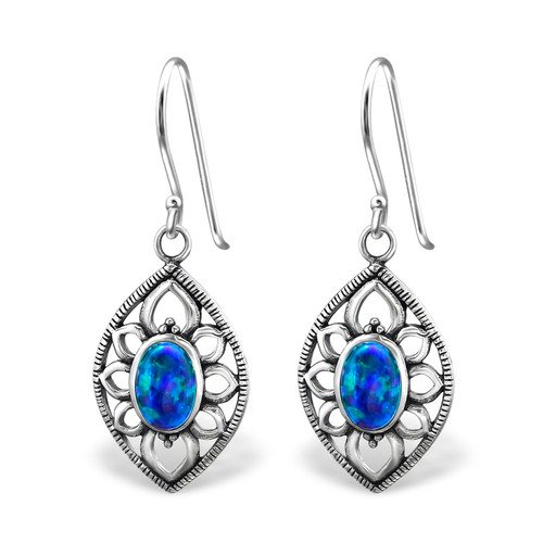 Marquise Opal and Semi Precious Earrings 925 Sterling Silver For Women and Girls