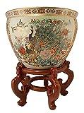 Japanese Satsuma Peacock Vase (16'' W x 13'' H | Base 10.25'')