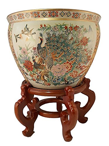 Japanese Satsuma Peacock Vase (16'' W x 13'' H | Base 10.25'') by Oriental Furnishings