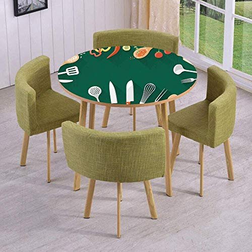 VAMIX Round Table/Wall/Floor Decal Strikers/Removable/Kitchenware Utensils Vegetables Spices Cooking Creative Recipe Home and Cafe Design Print/for Living Room/Kitchens/Office Decoration