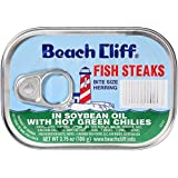 BEACH CLIFF Fish Steaks, Herring, Sardines in Soybean Oil with Hot Green Chilies, High Protein Food, Keto Food, Gluten…