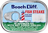 BEACH CLIFF Sardines in Soybean Oil with Hot Green Chilies, Wild Caught, High Protein Food, Keto Food, Gluten Free, High Protein Snacks, Canned Food, Bulk Sardines, 3.75 Ounce Cans (Pack of 18)