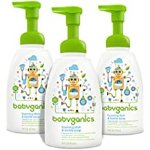 Babyganics Foaming Dish and Bottle Soap, Fragrance Free, 16oz Pump Bottle (Pack of 3)