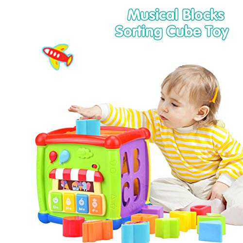 (Baby Activity Cube Shape Sorter - 6 in 1 Musical Sort & Discovery Ultimate Alphabe Activity Cube Play Centre Early Educational Baby Toys 12 18 Months Toys for 1 2 3 Year Old Boys & Girls)