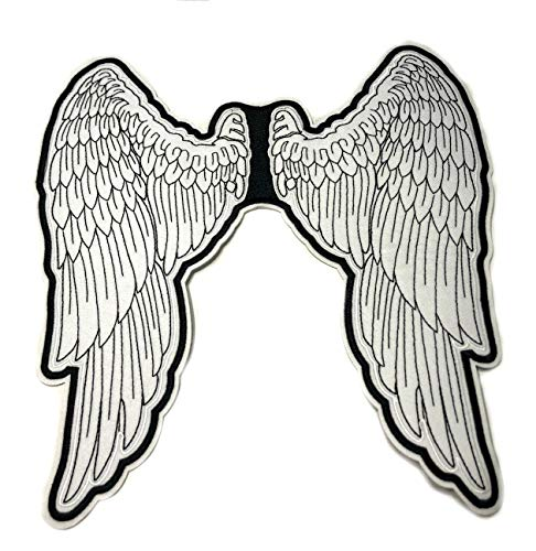 Angel Wings Embroidered Large Back Patch Skull Motorcycle Biker Club Series Jacket Vests Ghost Hog Outlaw Rocker Jumbo Iron or Sew-on Emblem Badge Appliques Application Fabric -