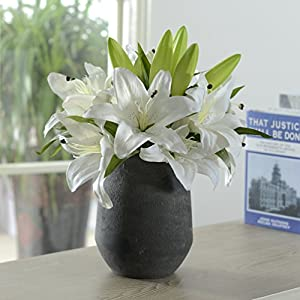 5 Heads Bounquet Artificial Lily Artificial Flowers for Home and Wedding without Vase & Basket, 1 Flower, White 46