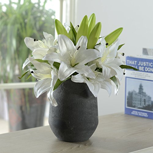 5 Heads Bounquet Artificial Lily Artificial Flowers for Home and Wedding without Vase & Basket, 1 Flower, White