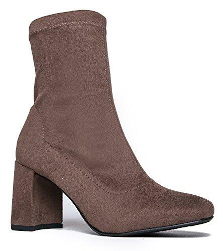 J. Adams Kinsley Chunky Heel Sock Boot, Taupe IMSU, 8.5 B(M) (Block Heel Ankle Boots)
