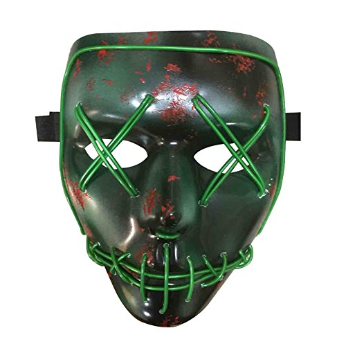 Blingflower LED Light Up Flashing Mask Skeleton Shaped Halloween Rave Party Favor Skull Mask Without Battery