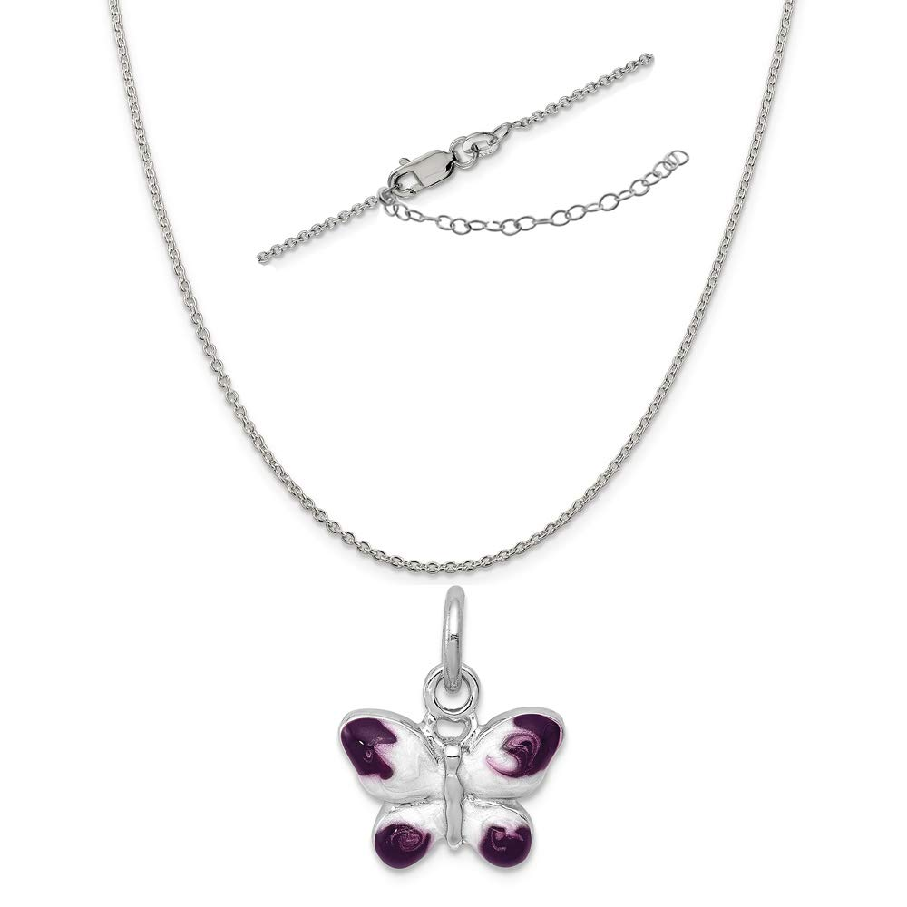 Sterling Silver Anti-Tarnish Treated Enameled Purple Butterfly Charm on an Adjustable Chain Necklace